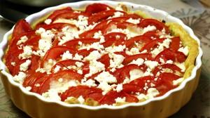 Tomatentaart met feta en mozzarella