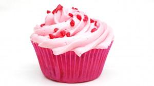 Aardbeiencupcakes met roze toef